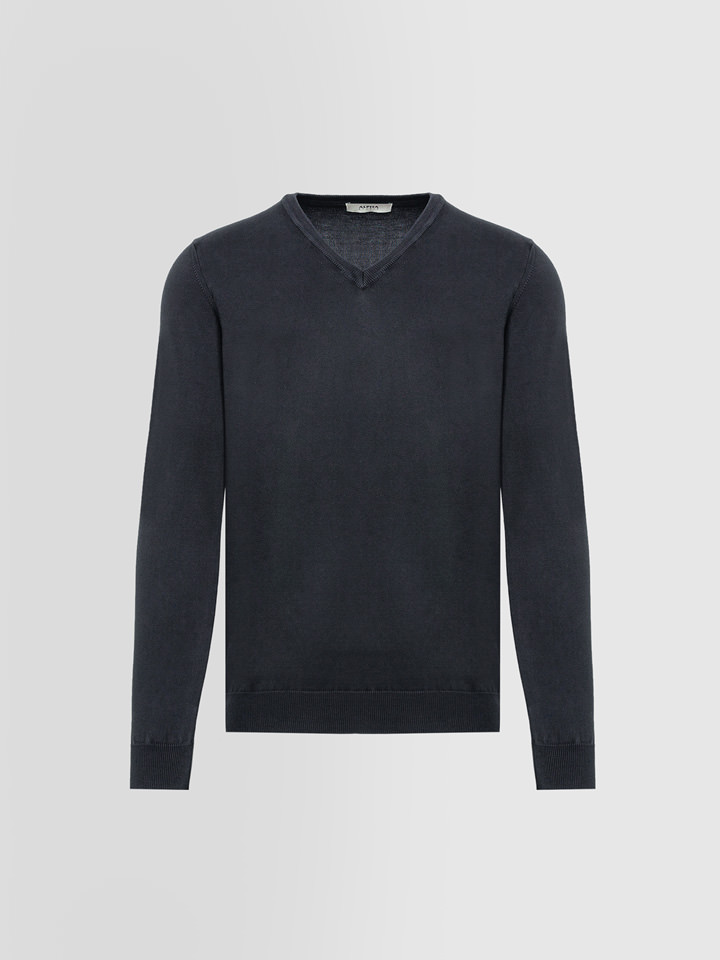 ALPHA STUDIO: BASIC SWEATER IN DYED COTTON