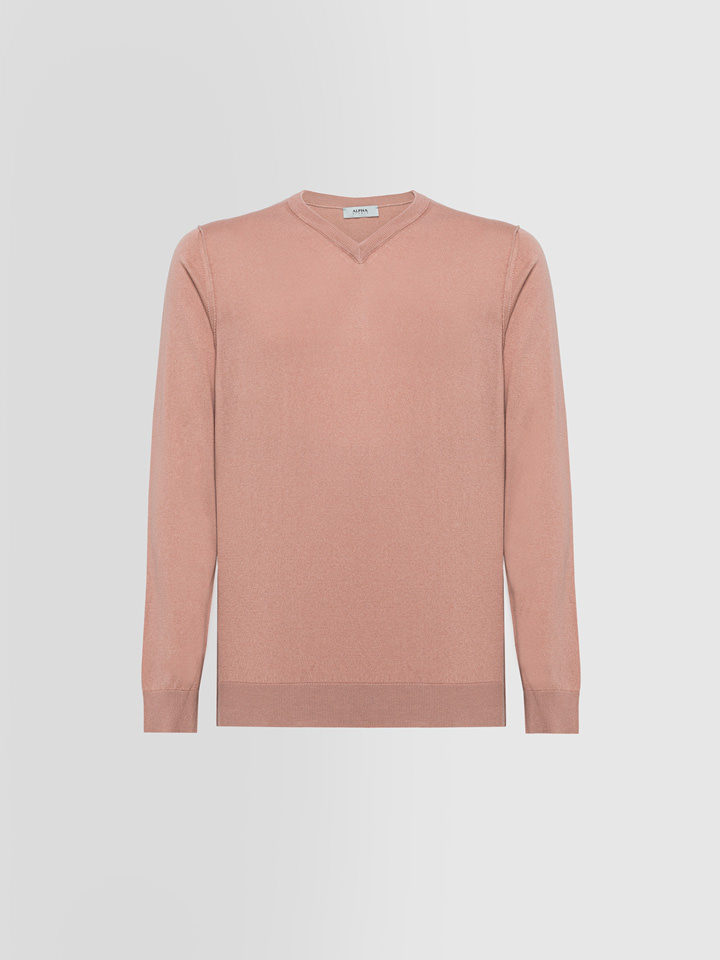 ALPHA STUDIO: BASIC SWEATER IN SILK AND CASHMERE