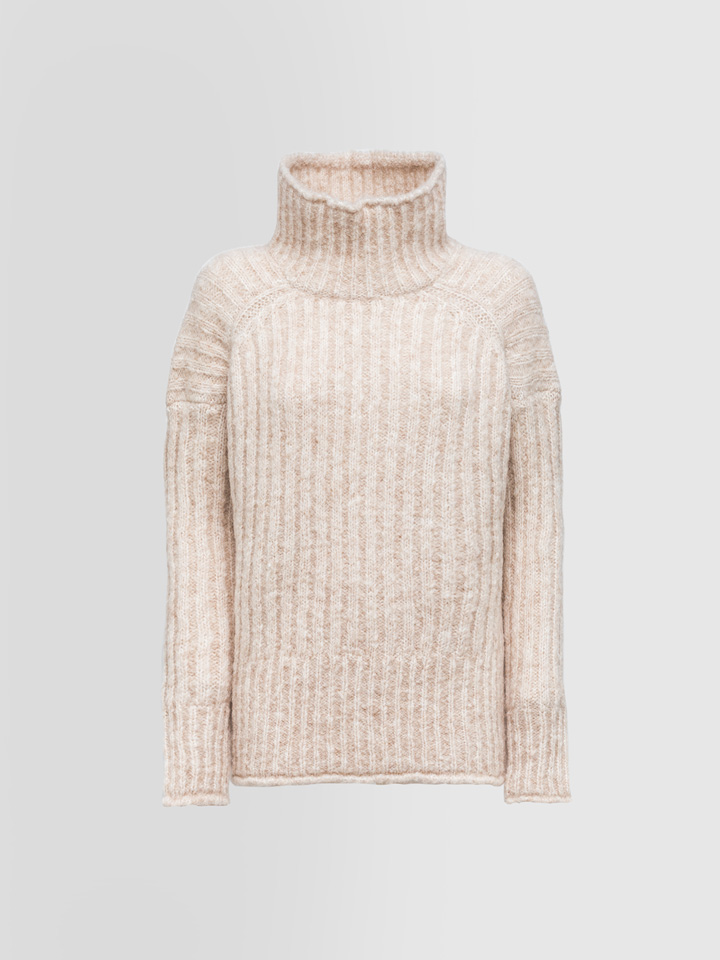 ALPHA STUDIO: RIBBED TURTLE NECK SWEATER IN MOHAIR AND ALPACA