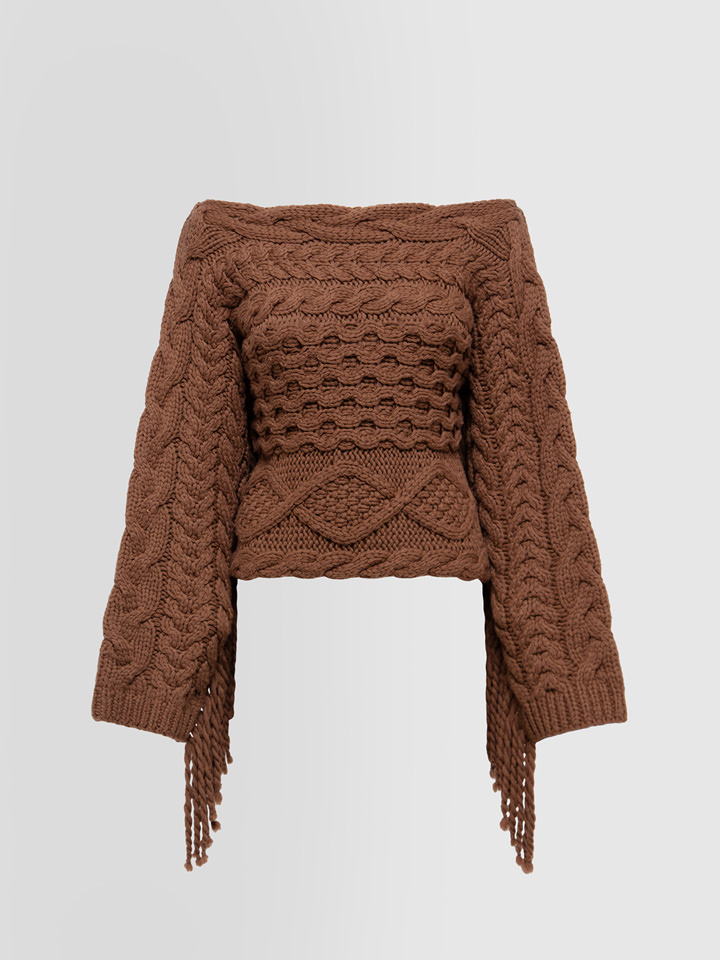 ALPHA STUDIO: FRAYED SWEATER IN MIXED WOOL