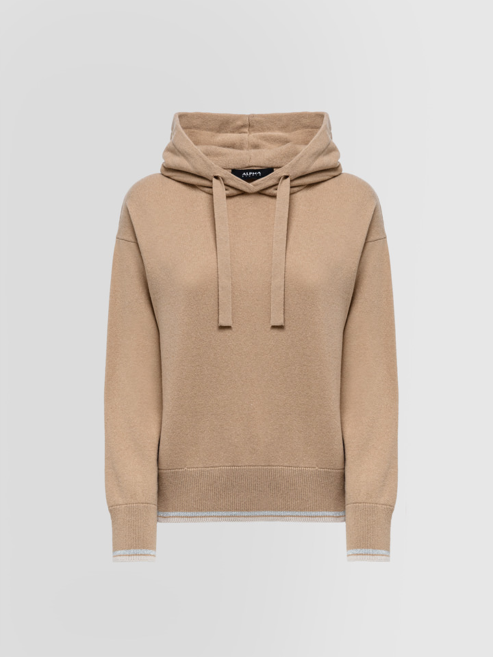 ALPHA STUDIO: HOODED SWEATER IN MIXED WOOL