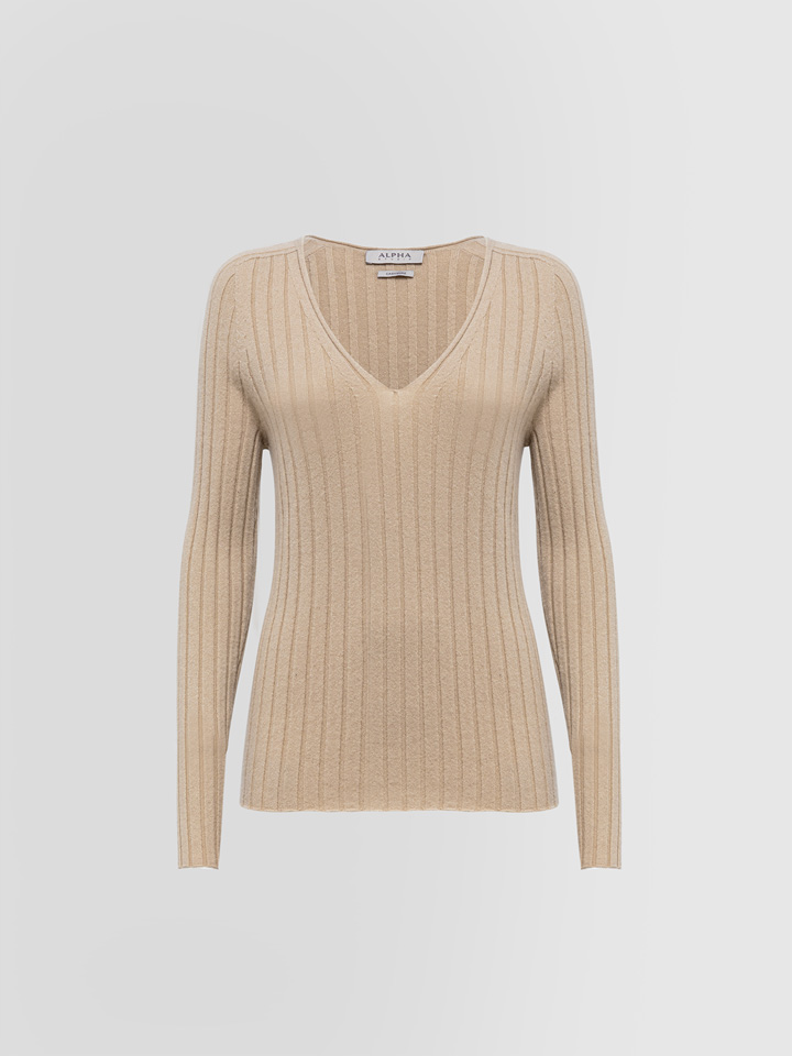 ALPHA STUDIO: LUXURY LABEL V-NECK SWEATER IN CASHMERE
