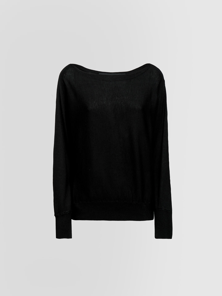ALPHA STUDIO: BOAT-NECK SWEATER IN SILK AND CASHMERE