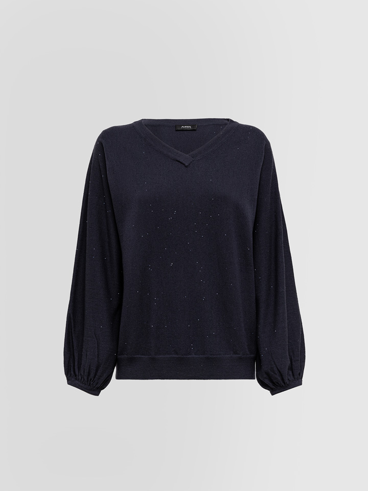 ALPHA STUDIO: V-NECK SWEATER IN WOOL