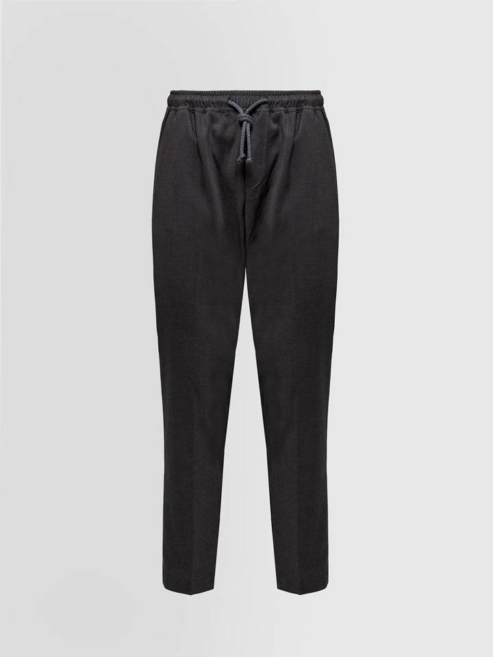 ALPHA STUDIO: PANTS WITH DRAWSTRING - FLANNEL EFFECT