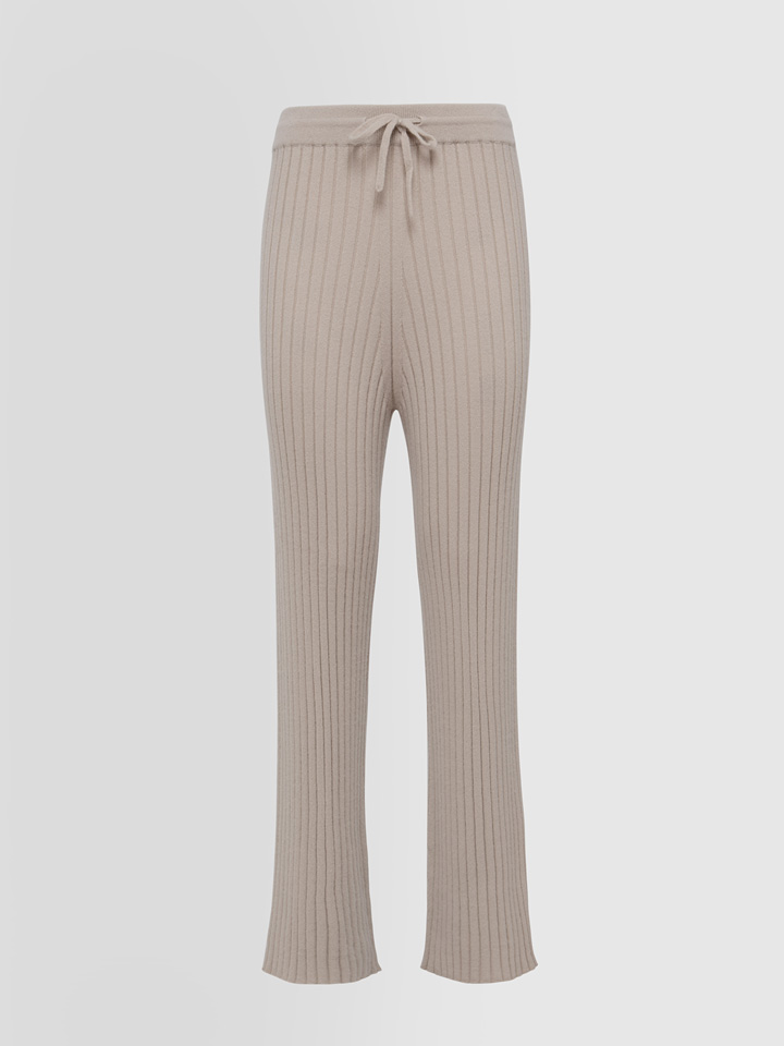 ALPHA STUDIO: LUXURY LABEL PANTS IN RIBBED CASHMERE