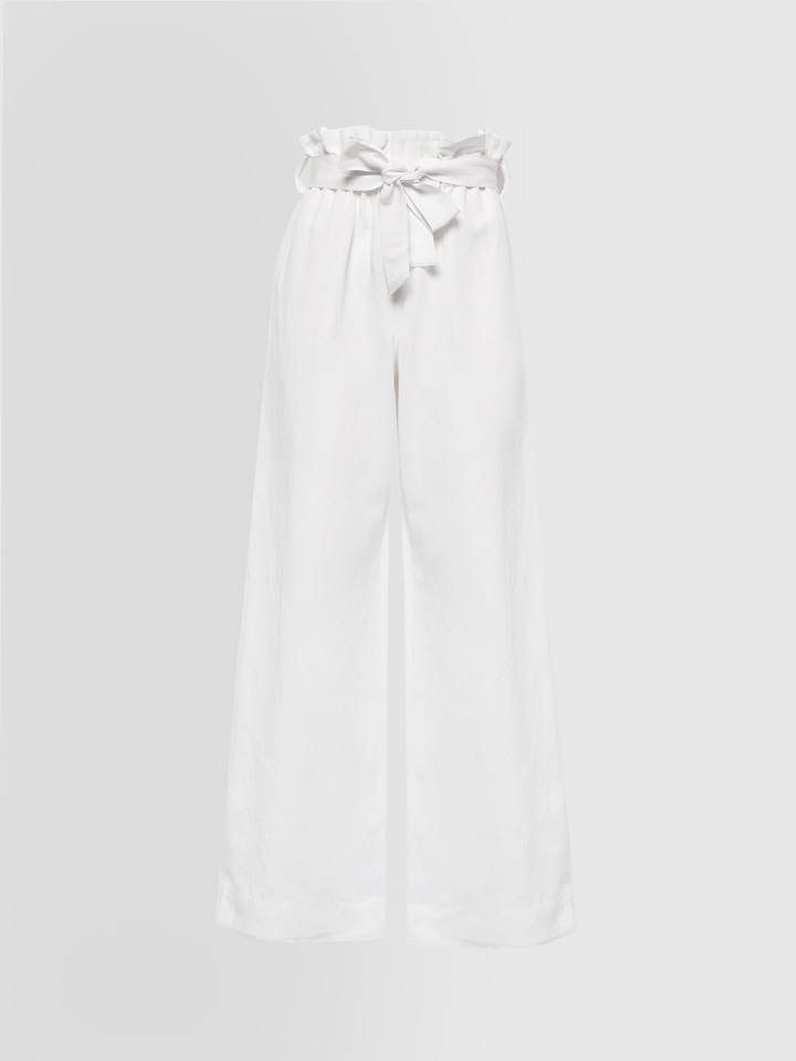 ALPHA STUDIO: NEW LINEN PANTS WITH BELT