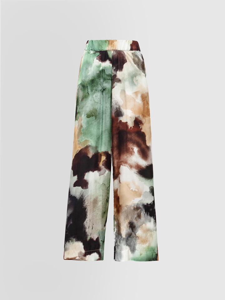 ALPHA STUDIO: WATERCOLOR PRINT PALAZZO PANTS