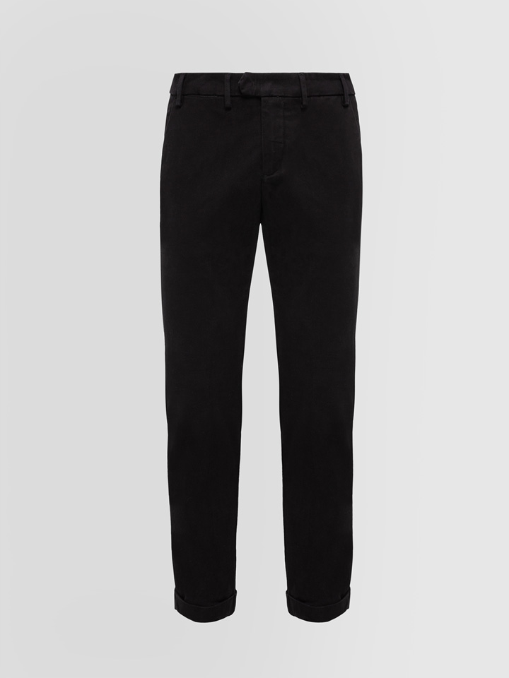 ALPHA STUDIO: SLIM FIT PANTS IN COTTON