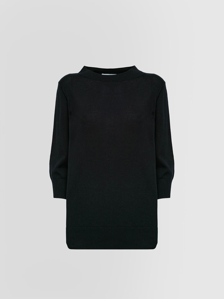 ALPHA STUDIO: TIFFANY COLLARLESS SWEATER IN SILK AND CASHMERE