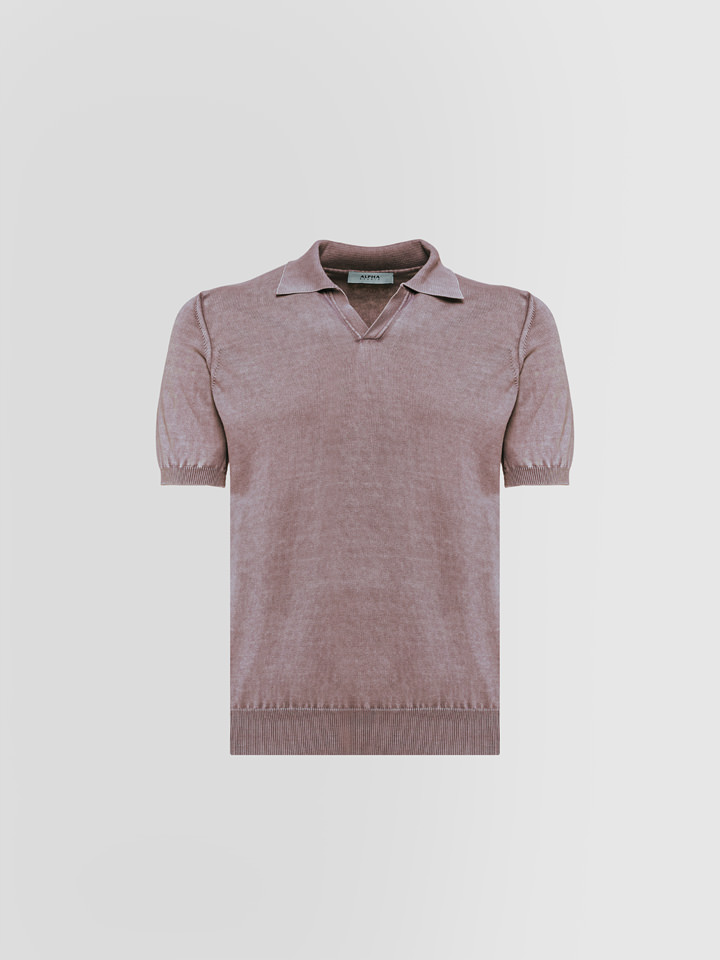ALPHA STUDIO: BASIC POLO SHIRT IN DYED COTTON