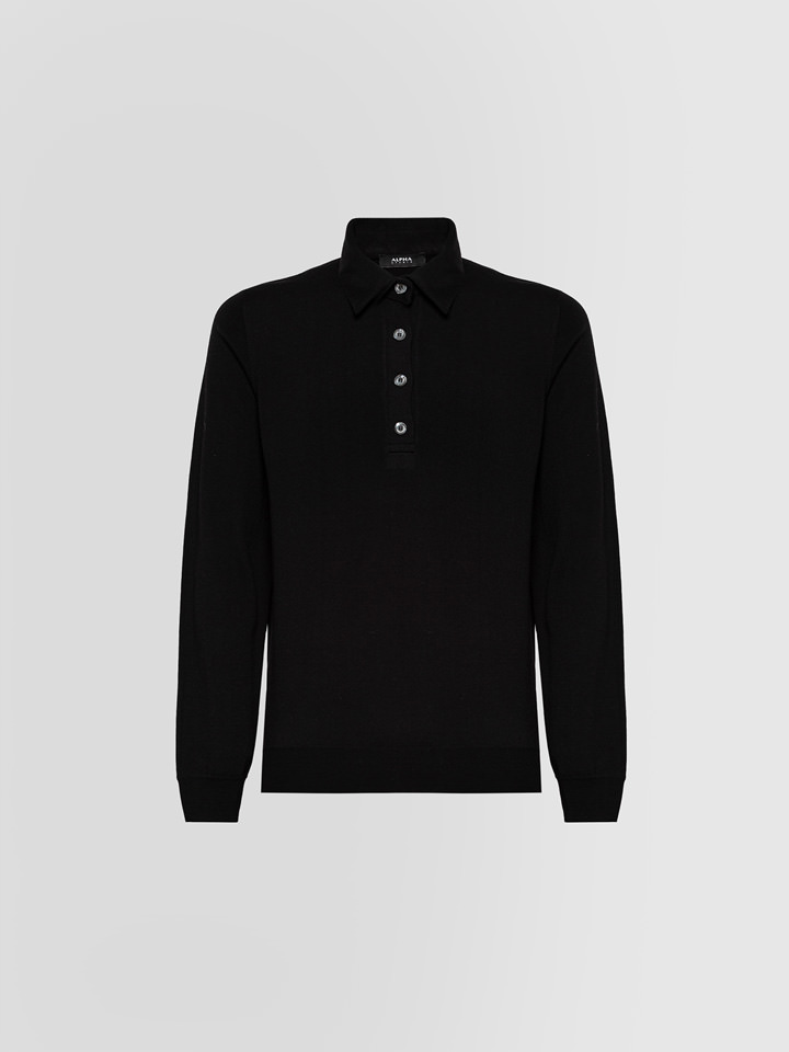 ALPHA STUDIO: LUXURY POLO SHIRT IN MERINO WOOL