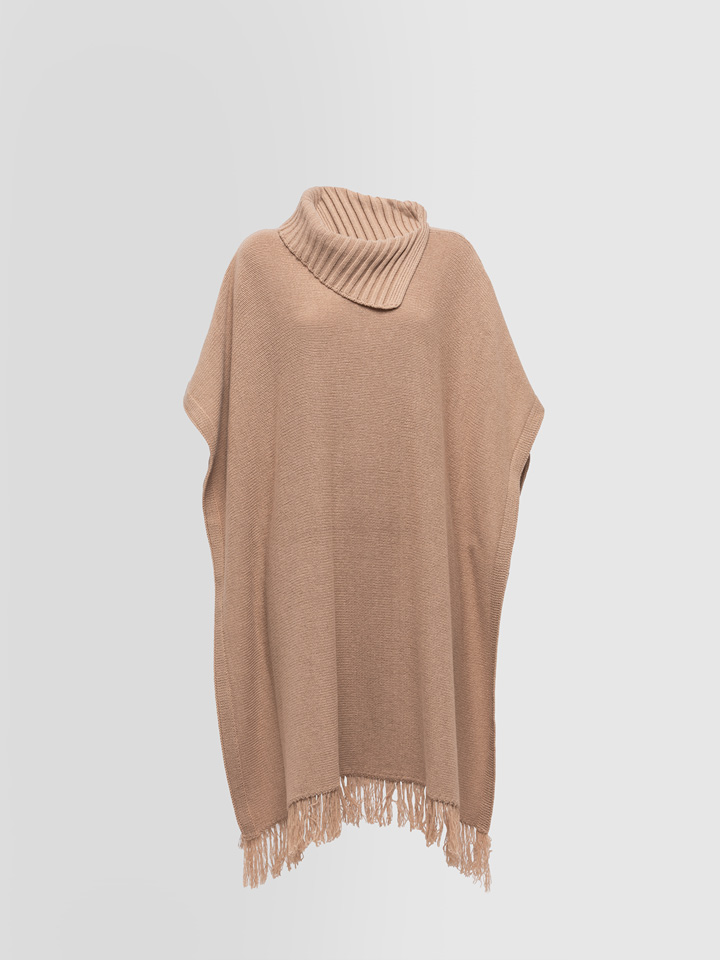 ALPHA STUDIO: FRAYED PONCHO IN WOOL BLEND AND CASHMERE
