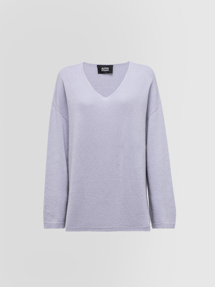 ALPHA STUDIO: V-NECK SWEATER IN WOOL AND CASHMERE
