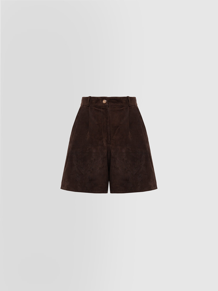 ALPHA STUDIO: SHORTS PINCES IN SUEDE