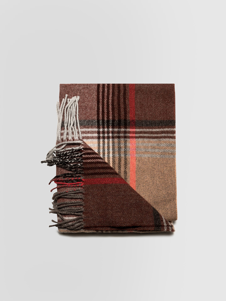 ALPHA STUDIO: PRINCE OF WALES PRINT STOLE IN WOOL