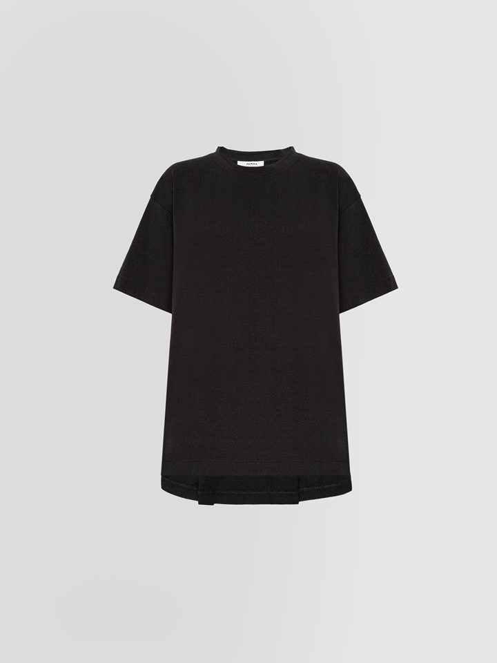 ALPHA STUDIO: BOX PLEAT T-SHIRT IN THICK JERSEY