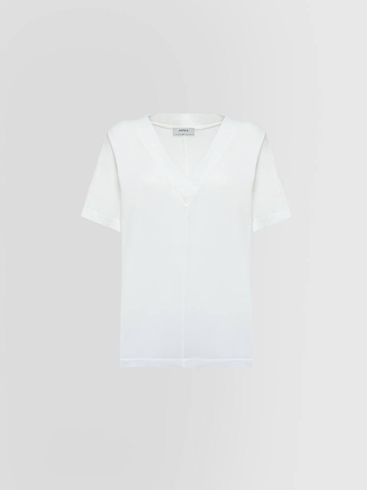 ALPHA STUDIO: T-SHIRT ICE SCOLLO V IN COTONE