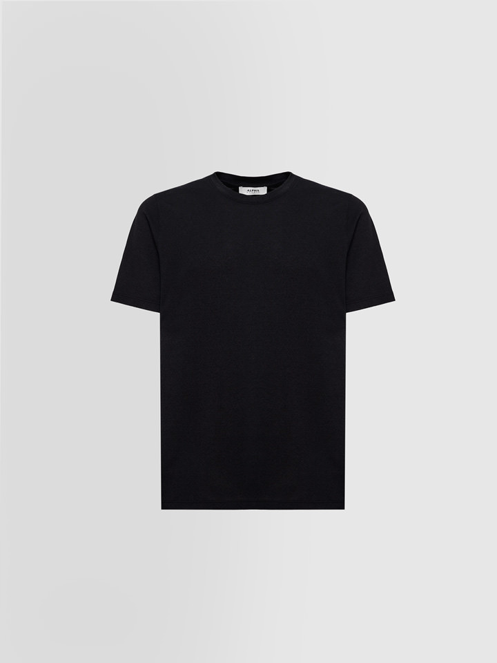ALPHA STUDIO: T-SHIRT IN STRETCH CREPE