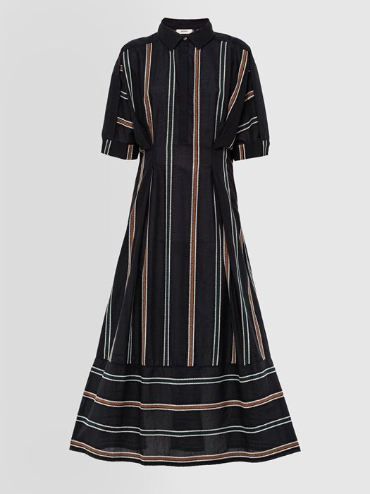 ALPHA STUDIO EMBROIDERY STRIPE SHIRT DRESS