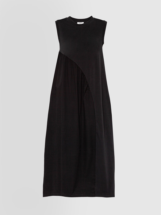 ALPHA STUDIO LONG DRESS IN JERSEY AND POPLIN