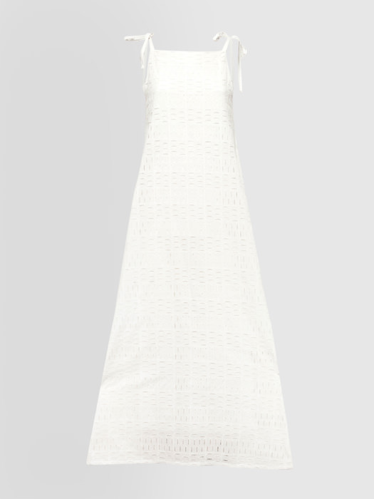 ALPHA STUDIO: BRODERIE ANGLAISE GEOMETRY PATTERN LONG DRESS