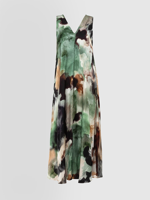 ALPHA STUDIO WATERCOLOR PRINT LONG DRESS