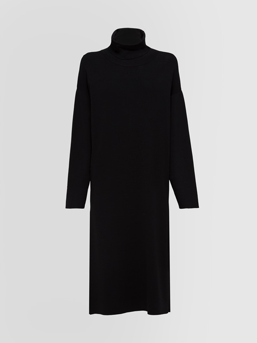ALPHA STUDIO RING COLLAR MIDI DRESS