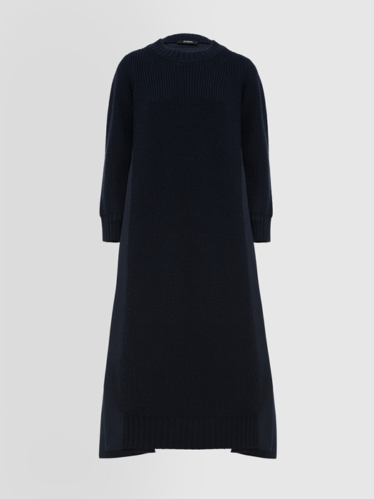 ALPHA STUDIO PLEATED KNIT + WOVEN DRESS IN COTTON