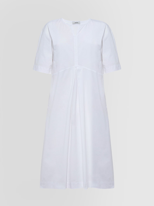ALPHA STUDIO: GRANDAD NECK DRESS IN POPLIN