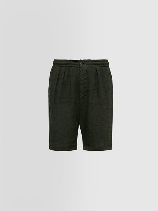 ALPHA STUDIO BERMUDA SHORTS IN SHUTTLE-WOVEN LINEN