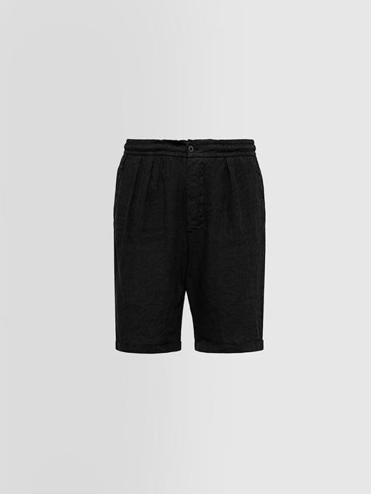ALPHA STUDIO: BERMUDA SHORTS IN SHUTTLE-WOVEN LINEN