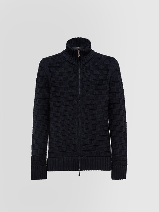 ALPHA STUDIO BLOUSON IN MERINO WOOL STITCH