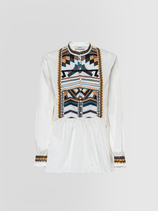 ALPHA STUDIO GURU SHIRT WITH EMBROIDERY AND ETHNIC RIBBONS