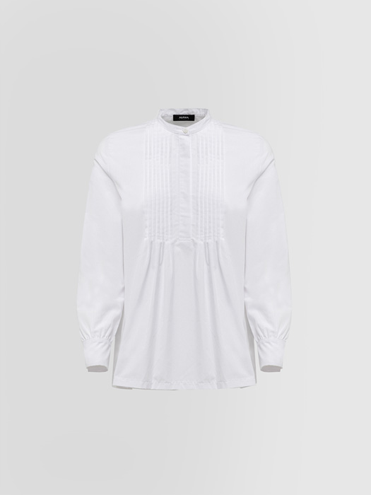 ALPHA STUDIO: GRANDAD NECK SHIRT IN POPLIN