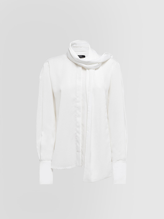 ALPHA STUDIO: CREPE DE CHINE STOLE SHIRT IN JERSEY
