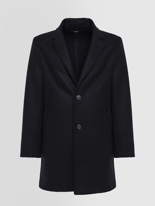 ALPHA STUDIO TWO-BUTTON SINGLE-BREASTED COAT IN VIRGIN WOOL