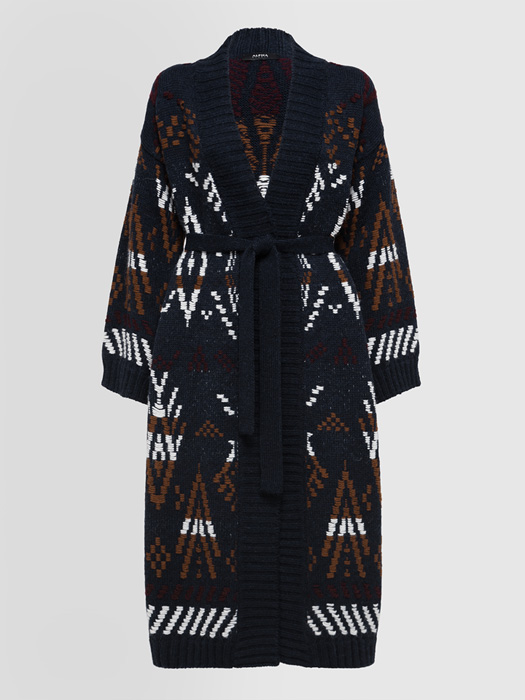 ALPHA STUDIO CARPET JACQUARD LONG CARDIGAN IN MIXED WOOL