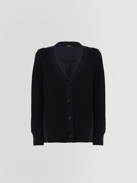 ALPHA STUDIO PLEATED KNIT + WOVEN CARDIGAN IN WOOL
