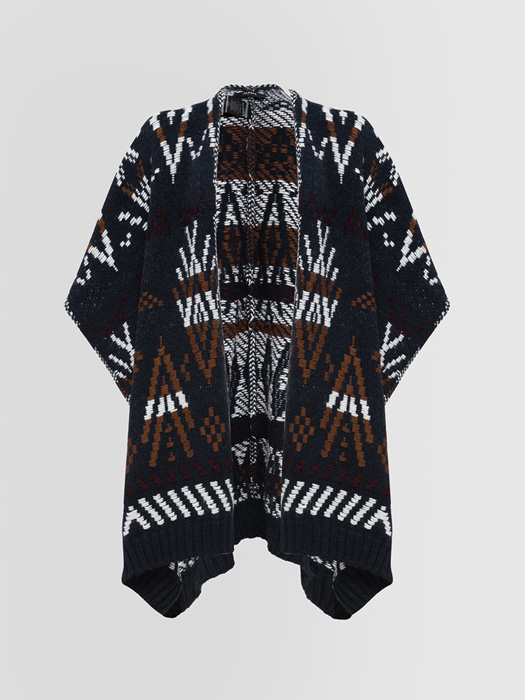 ALPHA STUDIO CARPET JACQUARD PONCHO CARDIGAN IN MIXED WOOL
