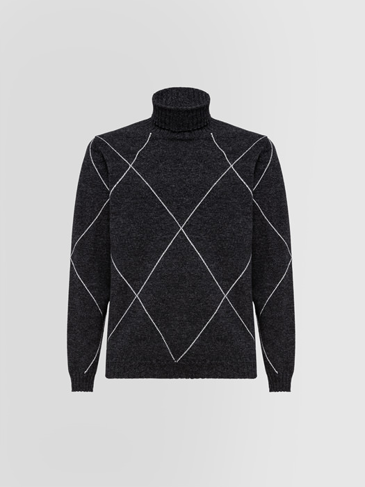 ALPHA STUDIO MOULINE TURTLE NECK SWEATER?IN WOOL AND CASHMERE