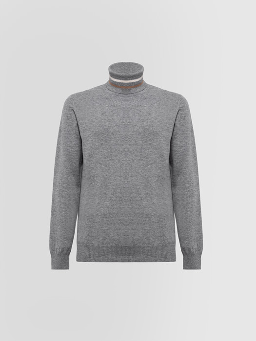 ALPHA STUDIO GEELONG REGIMENTAL TURTLE NECK SWEATER IN WOOL