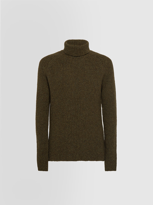 ALPHA STUDIO JACQUARD TEXTURE TURTLE NECK SWEATER IN MIXED WOOL
