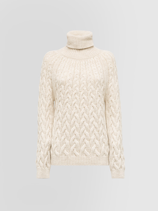 ALPHA STUDIO DEGRADE BRAID CABLE STITCH TURTLE NECK SWEATER IN ALPACA AND WOOL