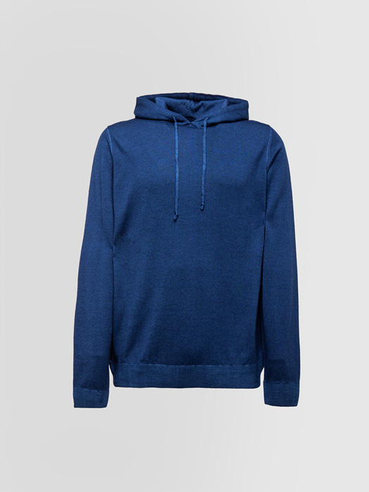ALPHA STUDIO BASIC HOODED SWEATSHIRT IN WOOL