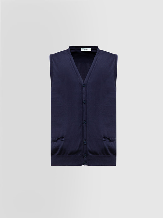 ALPHA STUDIO BASIC VEST IN DYED COTTON