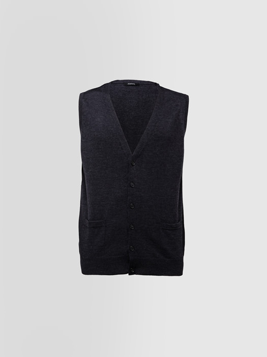 ALPHA STUDIO: BASIC SLIM VEST IN MERINO WOOL