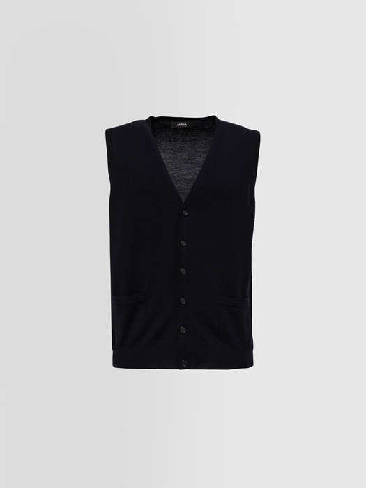 ALPHA STUDIO BASIC SLIM VEST IN MERINO WOOL