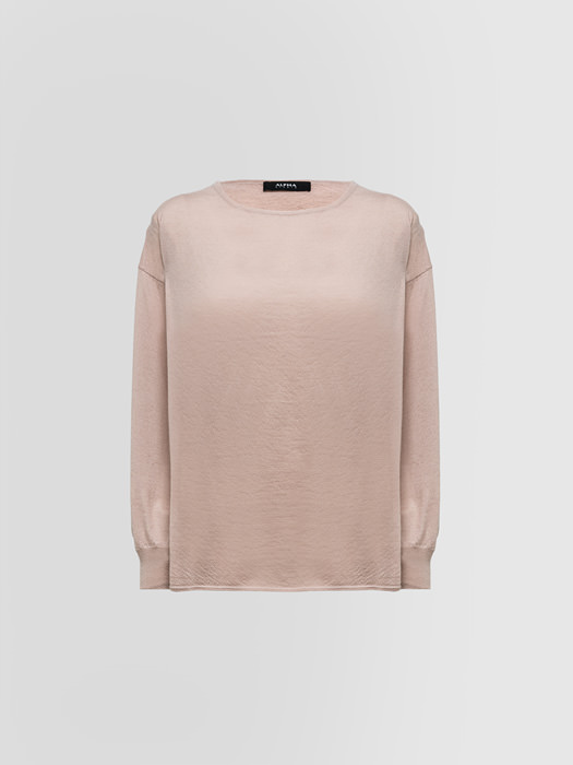 ALPHA STUDIO LUXURY LABEL VOLUME KNIT SWEATER IN BRUSHED CASHMERE