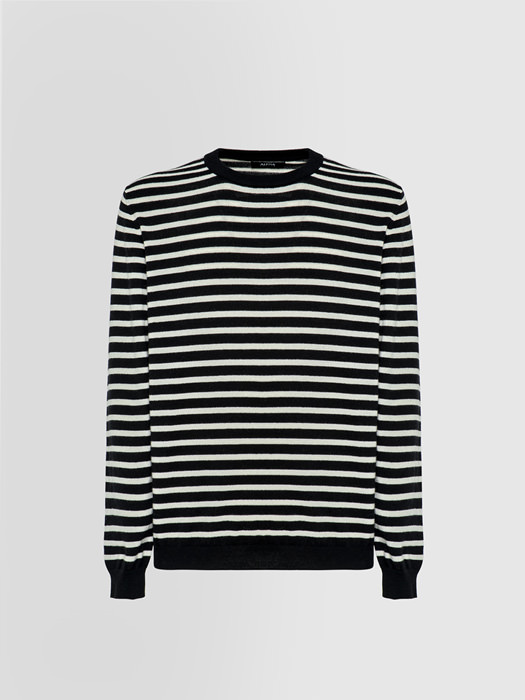 ALPHA STUDIO MARINE STRIPE SPORT CHIC CREW NECK